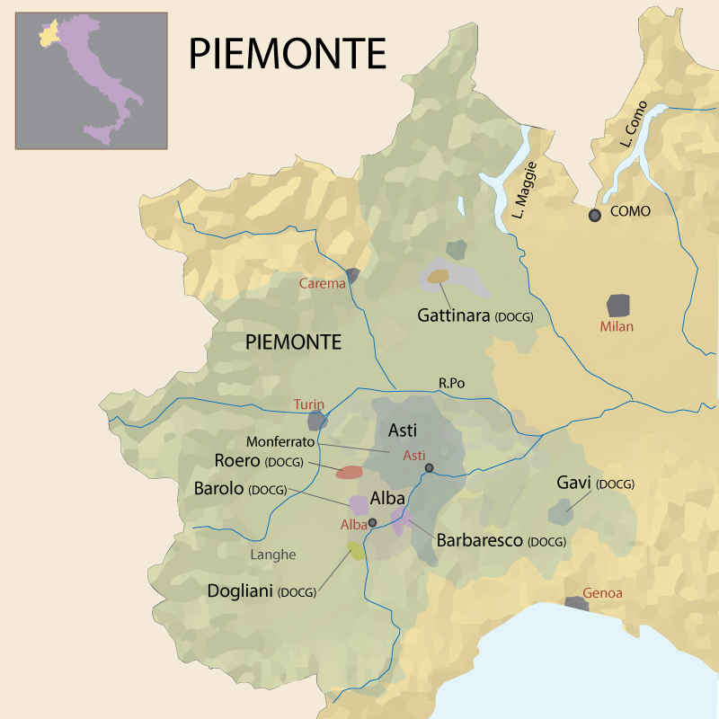 Map Of North West Italy.North West Italy Andrea Wine