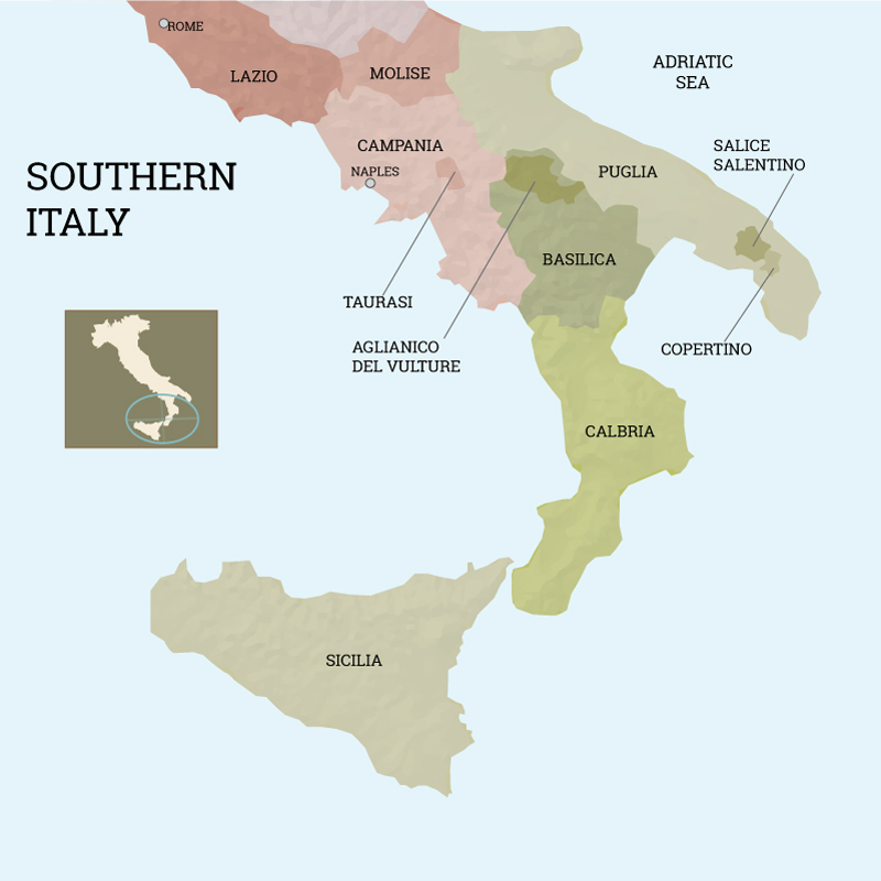 Map Of Southern Italy Regions.The Wines Of Southern Italy Andrea Wine